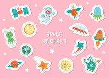 Autocollants mignons de l'espace pour des enfants sur le fond rose illustration libre de droits