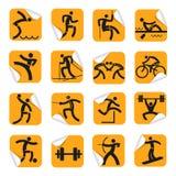 Autocollants oranges avec des icônes de sport illustration libre de droits