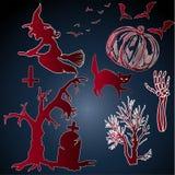 Autocollants plats de Halloween - collection de vecteur illustration stock