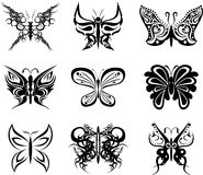 Autocollants réglés de paquet de tatouage de papillon illustration stock