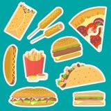 Autocollants savoureux plats lumineux de prêt-à-manger réglés Photographie stock
