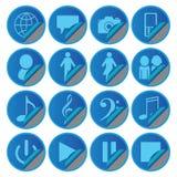 Autocollants sociaux d'icônes de media bleu Photo libre de droits