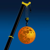 Autocrane lifts the moon. Vector illustration. Stock Images