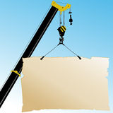 Autocrane lifts the poster. Vector illustration. Royalty Free Stock Image