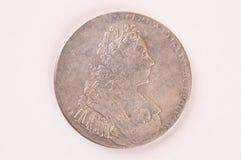 Autocrate d'argento di Pietro Romano dell'imperatore del Russo della moneta 1729 della rublo Fotografia Stock Libera da Diritti