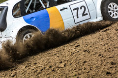 Autocross on a dusty road. Royalty Free Stock Photo