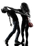 Autodéfense d'agression de voleuse de femme d'isolement images libres de droits