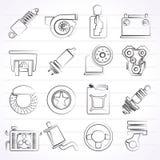 Autodeel en de dienstenpictogrammen Stock Fotografie