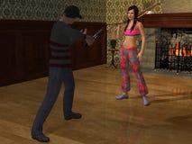 A autodefesa com arma 3d rende Imagem de Stock