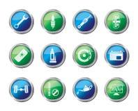 Autodelen en de Dienstenpictogrammen over gekleurde achtergrond Stock Illustratie