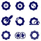 Autodelen zoals banden en geplaatste wielenpictogrammen vector illustratie