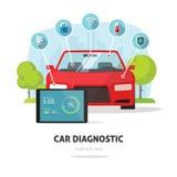 Autodiagnoseservice, Zusammenstoßversicherungsdienstkonzept oder Autoteilservice-Shopspeichersymbol Lizenzfreie Stockfotografie