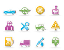 Autodienstleistungen und Transportikonen Lizenzfreies Stockbild