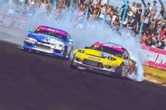 Saint-Petersburg, Russia - August 15, 2018: Powerful race car drifting on speed track Stock Photo