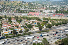 Autoestrada 5 e cidade de um estado a outro do LA Fotos de Stock Royalty Free