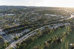 Autoestrada San Fernando Valley Aerial de Los Angeles 101 Foto de Stock Royalty Free