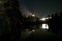 Autofahren auf einer Nachtstraße im Wald Lizenzfreie Stockbilder