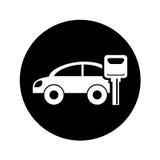 Autofahrzeugschattenbild mit Schlüsselikone vektor abbildung