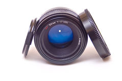 Autofocus lens isolated. Modern autofocus AF lensisolated on white stock photography