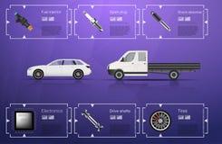Autogebruikersinterface Abstract virtueel grafisch aanrakingsgebruikersinterface Infographic auto's Vectorwetenschapssamenvatting stock illustratie
