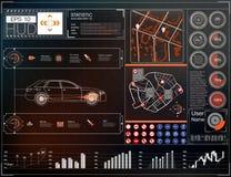 Autogebruikersinterface Kaart HUD UI Abstract virtueel grafisch aanrakingsgebruikersinterface Auto'spictogram Vectorauto'ssamenva royalty-vrije illustratie