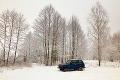 Autogeländewagen im Winter im Wald Stockfotos