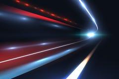 Autogeschwindigkeitslinien Licht schleppt tragisches des langen Belichtungszusammenfassungs-Vektorhintergrundes stock abbildung
