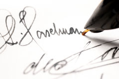 Autograph. Personal signature signed in ink pen Stock Image