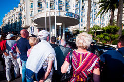 Autograph hunters in front of the Martinez Hotel, International Royalty Free Stock Photography
