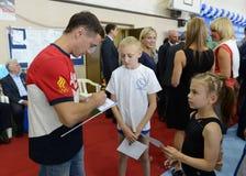 Autograph van de kampioen Olympische kampioen in gymnastiek Nikolai Kryukov royalty-vrije stock foto's