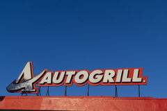 Autogrill sign on a highway Royalty Free Stock Photo