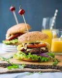 Autoguidez les hamburgers faits avec de la laitue, le fromage et l'oignon caramélisé Photographie stock libre de droits