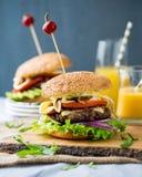 Autoguidez les hamburgers faits avec de la laitue, le fromage et l'oignon caramélisé Photo stock