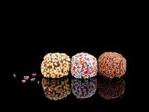 Autoguidez les truffes de chocolat faites, bonbons, confiserie Étaient quatre I Image libre de droits
