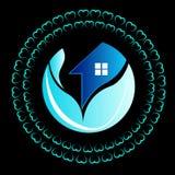 Autoguidez, logo d'usine de maison de cercle de Chambre, icône de symbole de nature d'usine, l'usine à la maison logo-01 de cercl Photo stock