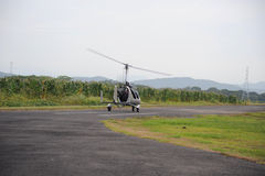 Autogyro (back view). Autogyro prepares for take-off Stock Images