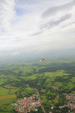 Autogyro flying over the tropical landscape. In Costa Rica Stock Photos
