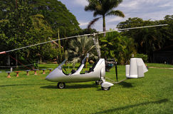 Autogyro parked on the private airfield Stock Photography