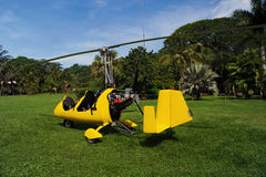 Autogyro parked on the private airfield Stock Photo