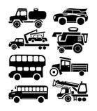Autoikone, schwarzer Transportvektorsatz Stockbild