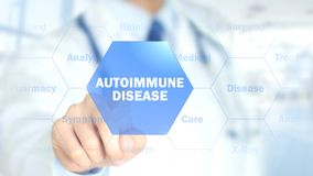 Autoimmune disease, Doctor working on holographic interface, Motion Graphics. High quality , hologram Stock Images