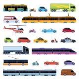 AUTOinzameling Het vervoer van de voertuigenstad Van de de trambus van de auto'shelikopter van de de taxipolitie convertibele sli royalty-vrije illustratie