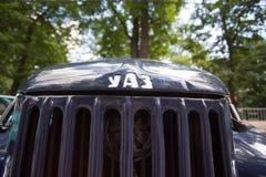 Autokap UAZ bij de show van de auto's van inzamelingsretrofest stock fotografie