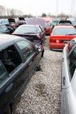Autokerkhof voor oude auto's voor schroot Royalty-vrije Stock Afbeelding