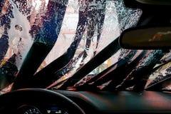 Autolavaggio attraverso una finestra Immagine Stock Libera da Diritti