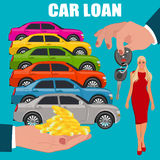 Autolening, handen die geld en sleutels, vectorillustratie, vlakke stijl houden Stock Foto