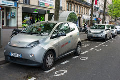 Autolib' electric car sharing service in Paris Royalty Free Stock Photo