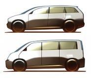 Autolichaam Minivan en Microbus Stock Afbeelding