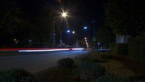 Autolichten in de nacht Stock Afbeelding