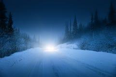 Autolichter im Winterwald Lizenzfreie Stockfotografie